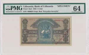 Lithuania, 5 Litai 1922 SPECIMEN - I 000054