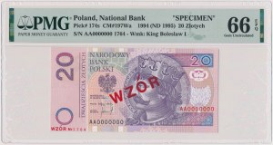 20 złotych 1994 - WZÓR - AA 0000000 - Nr 1764