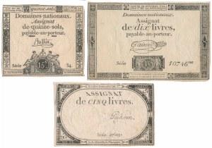 France, 15 Sols and 5-10 Livres 1792-1793 (3pcs)