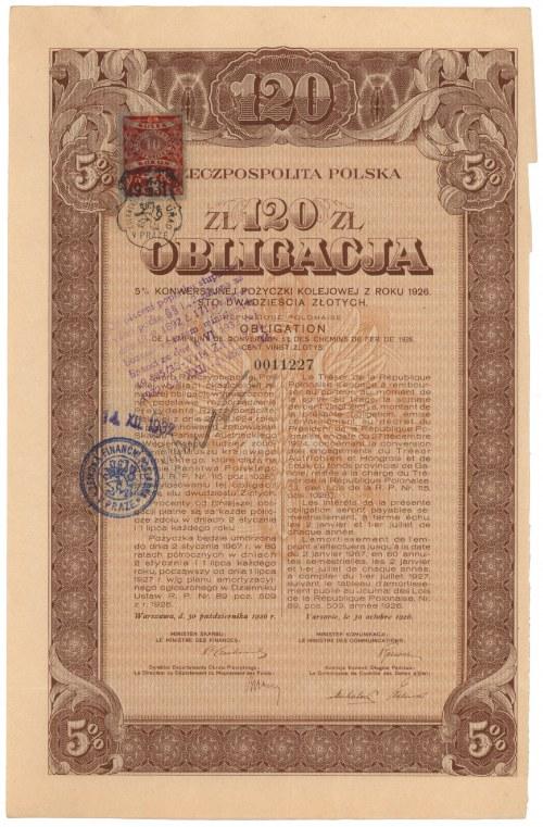 5% Konwersyjna Poż. Kolejowa 1926, Obligacja 120 zł