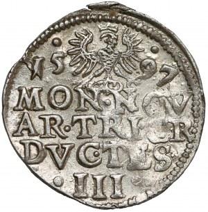 Śląsk, Adam Wacław, 3 krajcary Cieszyn 1597 - DVC TES - b.ładny