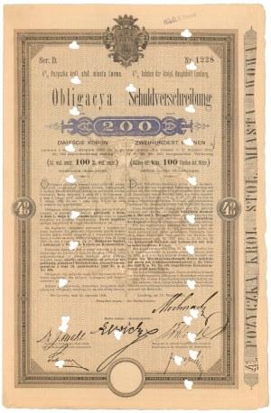 Lwów, Poż. król. stoł. miasta, Obligacja 200 koron 1896