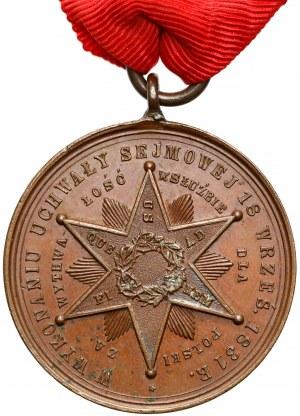 Medal z Gwiazdą Wytrwałości Powstania listopadowego - w jego 50. Rocznicę (1881)