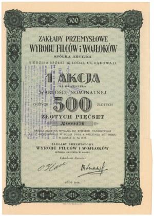 Zakłady Przemysłowe Wyrobu Filców i Wojłoków, 500 zł 1938
