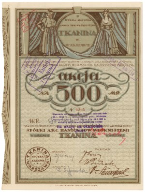 TKANINA Sp. Akc. Handlu Towarami Włóknistemi, Em.1, 500 mkp
