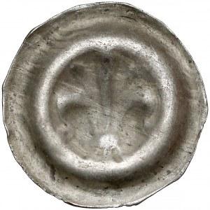 Brakteat - lilia heraldyczna, przewiązana, z pręcikami