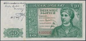 Londyn, 10 złotych 1939 - druk próbny zielony - znak wodny od 20 złotych