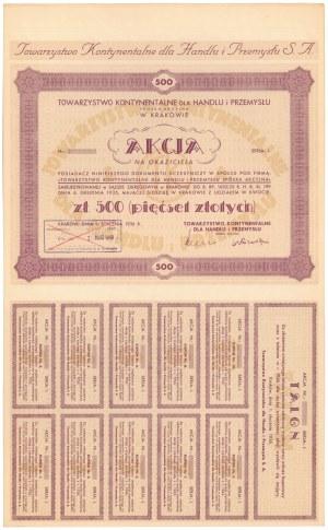 Tow. Kontynentalne dla Handlu i Przemysłu, 500 zł 1936