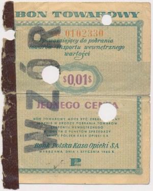 PEWEX 1 cent 1960 - WZÓR - numeracja bieżąca