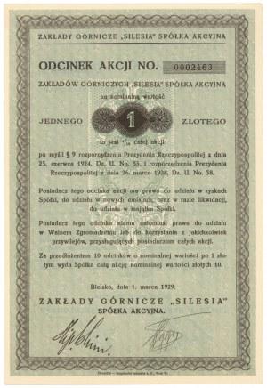 Zakłady Górnicze SILESIA, Odcinek na 1 zł 1929