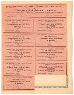 SATURN Tow. Akc. Górniczo-Przemysłowe, 1922 r. - akcja użytkowa
