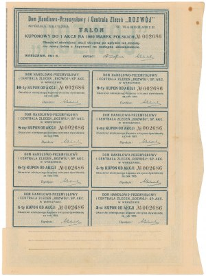 ROZWÓJ Dom Handlowo-Przemysłowy i Centrala Zleceń, 1.000 mk 1921