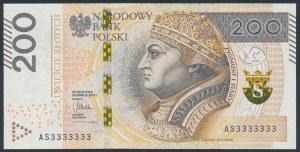 200 złotych 2015 - AS 3333333