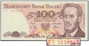 100 złotych 1988 - numer kolejny - TT 1234567