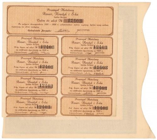 RAUER, KREDYK i S-ka Przemysł Metalowy, 1.000 mkp 1921