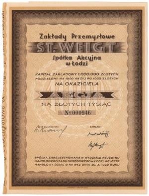 Zakłady Przemysłowe ST. WEIGT w Łodzi, 1.000 zł 1938