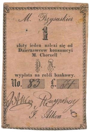 Chorzel, M. Przysuskier, P. Alkon, 1 złoty (XIX w.)
