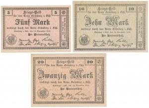 Grunberg (Zielona Góra), 5, 10 i 20 mk - listopad 1918 (3szt)