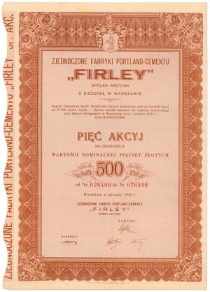 FIRLEY Zjednoczone Fabryki Portland-Cementu, 5x 100 zł 1938