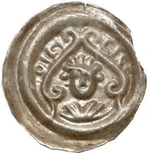 Leszek Biały(?), Brakteat - popiersie nad wolutami z napisami hebrajskimi