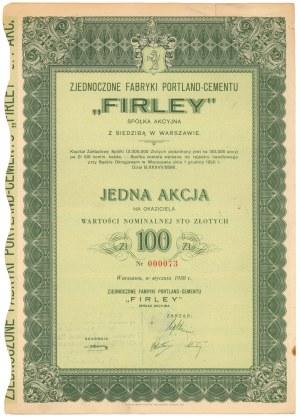 FIRLEY Zjednoczone Fabryki Portland-Cementu, 100 zł 1938