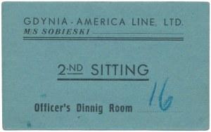 M/S Sobieski, Bilet do kantyny oficerskiej, Gdynia - America Line