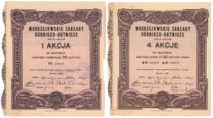 Modrzejowskie Zakłady Górniczo-Hutnicze, 50 zł i 4x 50 zł 1927 (2szt)