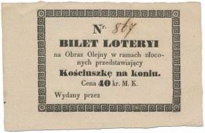 Bilet loteryi na obraz z Kościuszką na koniu 40 koron