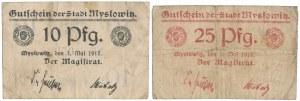 Myslowitz (Mysłowice), 10 i 25 pfg 1917 (2szt)