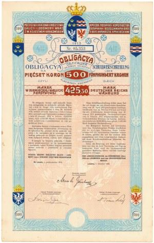Lwów, Poż. Królestwa Galicyi i Lodomeryi..., Obligacja na 500 koron 1913