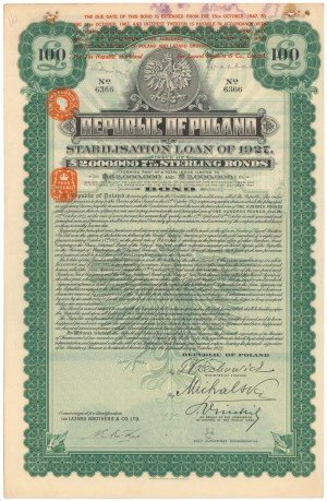 Pożyczka Stabilizacyjna, Obligacja 100 Funtów 1927