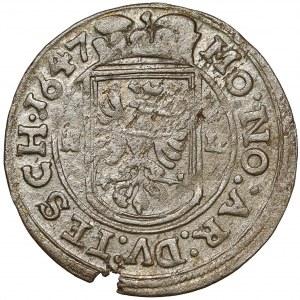 Śląsk, Ferdynand III, 3 krajcary Skoczów 1647 HL
