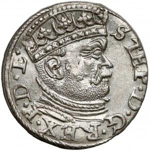 Stefan Batory, Trojak Ryga 1586 - duża głowa