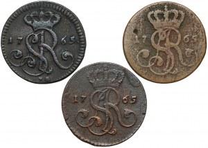 Poniatowski, Grosze 1765 - VG, G i g - w tym RZADKI (3szt)