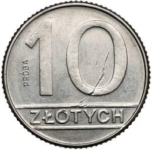 Próba NIKIEL 10 złotych 1989 - stempel zwykły