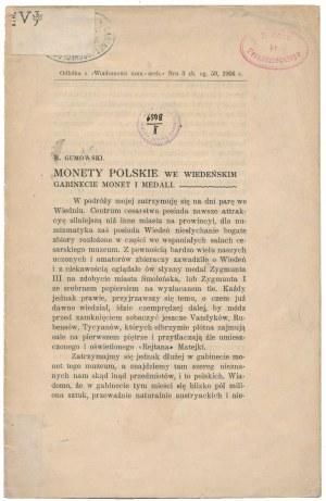 Monety polskie we wiedeńskim gabinecie monet i medali, M. Gumowski 1904
