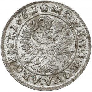Śląsk, Ludwik IV Legnicki, 3 krajcary 1661 EW, Brzeg - GOLD
