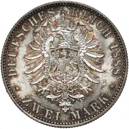 Niemcy, Prusy, Wilhelm II, 2 marki 1888-A - rzadkie