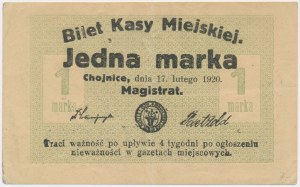 Chojnice, 1 marka 1920 - polski stempel