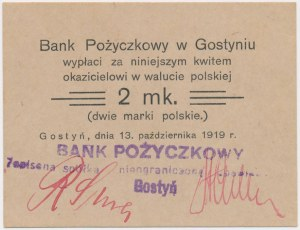 Gostyń, Bank Pożyczkowy, 2 marki 1919