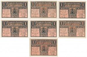 Cieszyn, 1 korona kwiecień 1919 - zestaw (7szt)