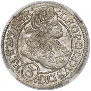 Śląsk, Leopold I, 3 krajcary 1670 SHS, Wrocław - piękne