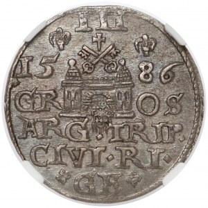 Stefan Batory, Trojak Ryga 1586 - menniczy