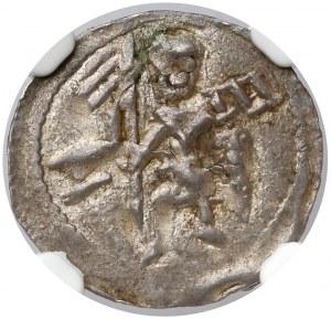 Bolesław IV Kędzierzawy, Denar - Dwóch za stołem - N-E