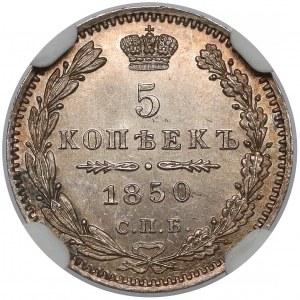 Rosja, Mikołaj I, 5 kopiejek 1850 ПA, Petersburg