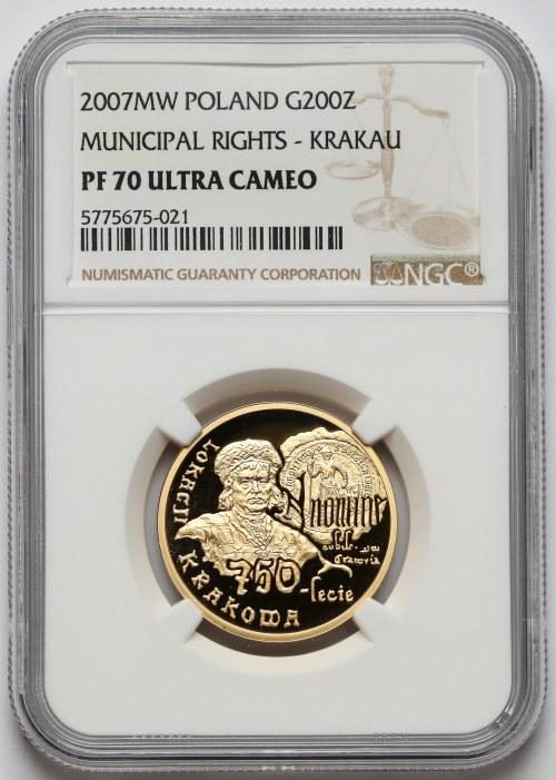 200 złotych 2007 750-lecie Lokacji Krakowa