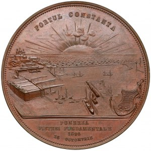 Romania, Carol I, Medal - Constanta Haven 1896 (A. Scharff)