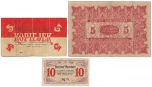 Częstochowa, 5-10 kopiejek i 5 rubli 1914-16 (3szt)