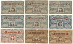 Kraków, 6x 1/2 i 3x 1 korona - zestaw (9szt)