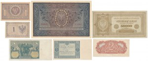 Zestaw banknotów, Marki polskie i złotówki 1919-1944 (7szt) - w tym rzadkie